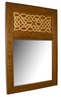 Custom Made Stained Cherry Mirror, Kells Inlay
