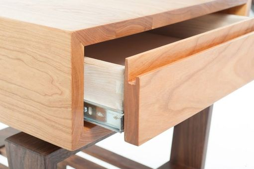 Custom Made Mid Century Modern Styled Cherry And Walnut End Table