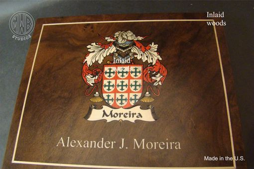 Custom Made Inlaid Family Crest Custom Humidor With Free Shipping.