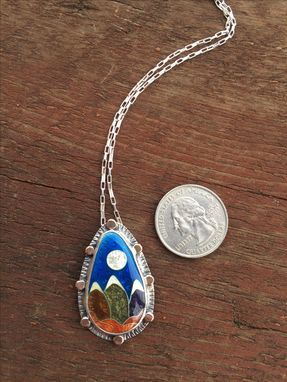 Custom Made Cloisonne Enamel Mountain Necklace, Indian Peaks Wilderness Necklace