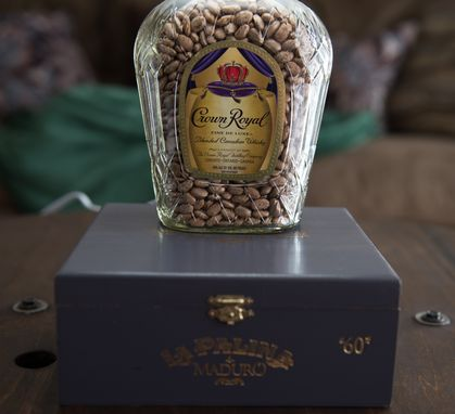 Custom Made Whiskey Bottle Cigar Box Lamp // Crown Royal // Unique Gift