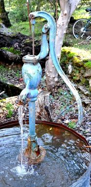 "Custom Made Rustic Water Fountain ""The Blue Pump''"
