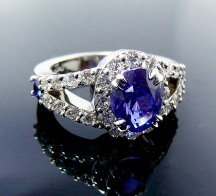 Custom Made Custom Sapphire And Diamond Halo Engagement Ring