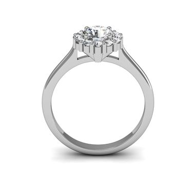Custom Made Plain Shank Halo 14k White Gold Engagement Ring Total Carat Weight: 0.79 Ct