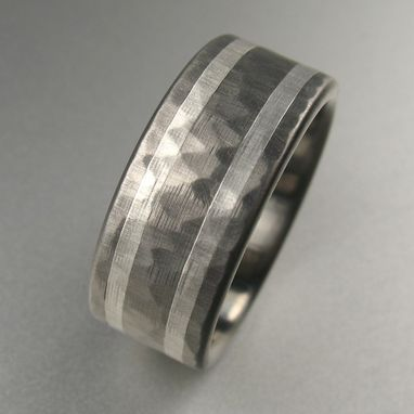 Custom Made Hammered Titanium Men's Wedding Band