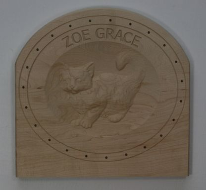 Custom Made Wall Plaque With Carved Kitten