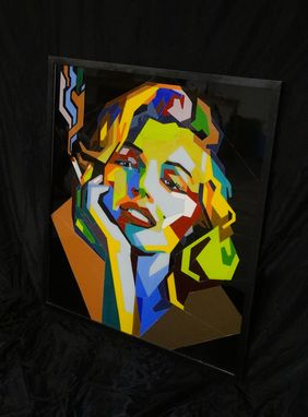 Custom Made Hand-Made Marilyn Monroe Portrait In Stained Glass.