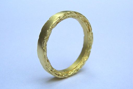 Custom Made 18kt Gold Rough Edge Band 3mm Width
