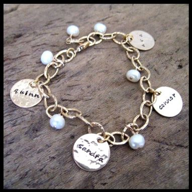 Custom Made Gold Name Charm Bracelet With Pearls