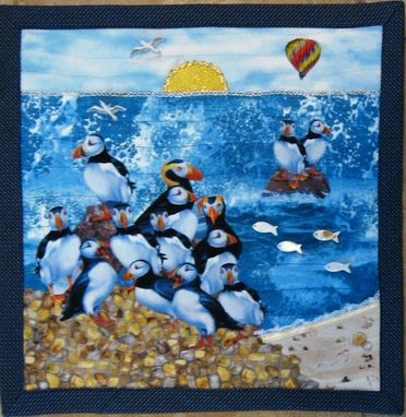 "Custom Made Quilted Landscape Wall Hanging - ""Little Puffin Cove"""