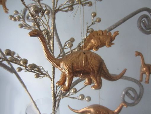 Custom Made Pair Of Upcycled Dinosaur Toy Ornaments