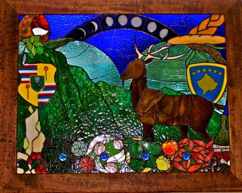 Custom Made Stained Glass Panel With Fused Glass Elements - It's A Smal World