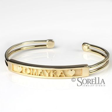Custom Made Personalized Name/Message Cuff Bracelet In 14k Gold