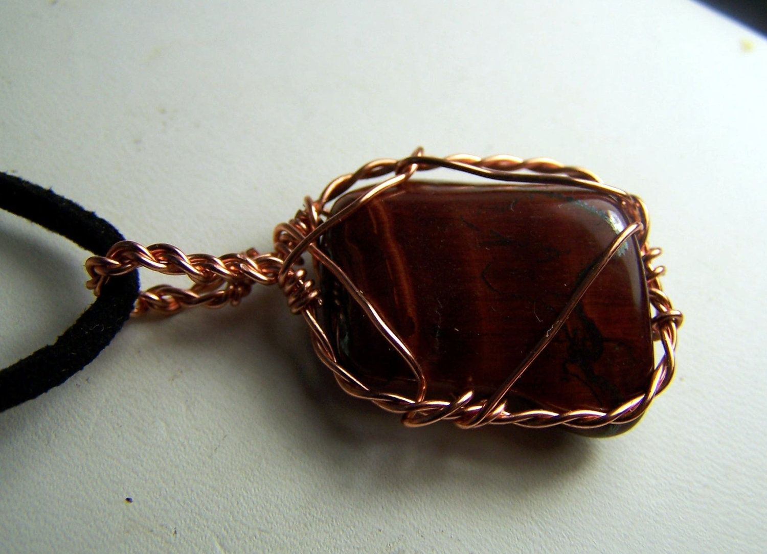 Hand Crafted Red Tiger Eye Wire Wrap Necklace Pendant - Tiger Eye ...