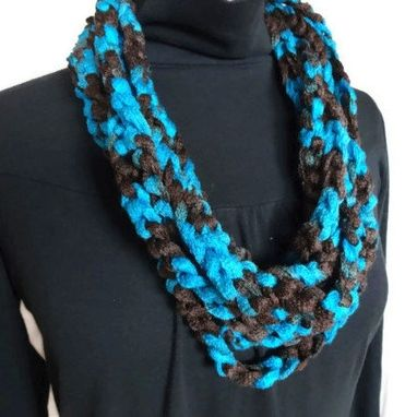 Custom Made Lightweight Cowl Necklace Infinity Scarf Aqua Blue Royal Blue Brown