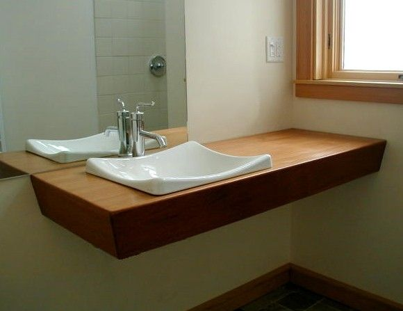 Hand Crafted Mahogany Slab Vanity By North Cove Design Custommade Com