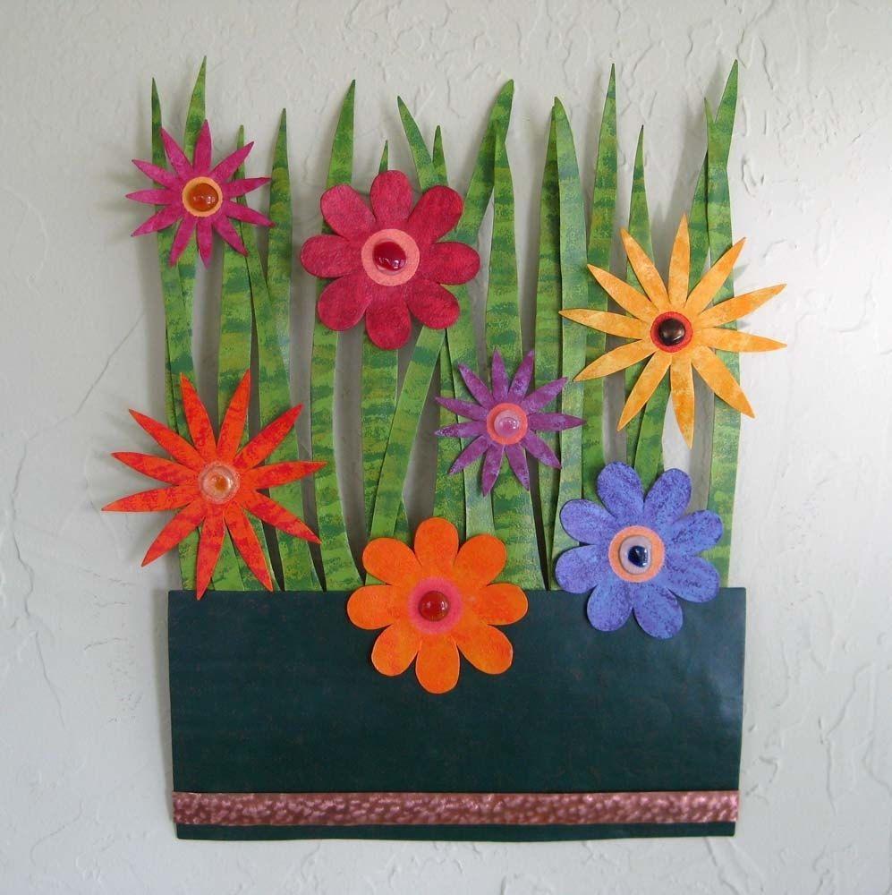 Metal garden wall art - Custom Made Handmade Upcycled Metal Flower Garden Wall Art Sculpture