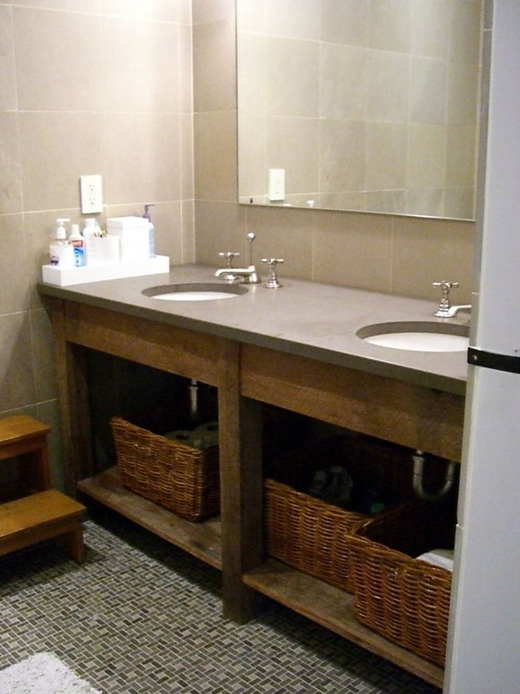 Hand crafted custom bathroom vanities all using recliamed for Custom bathroom vanity designs