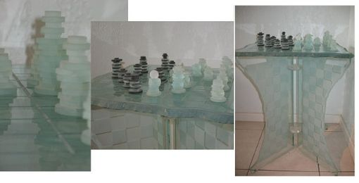 Custom Made Stacked Glass Chess Set