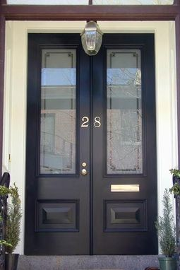 Custom Made Historic Door With Etched Glass