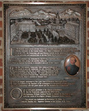 Custom Made Commemorative Plaque National Basilica