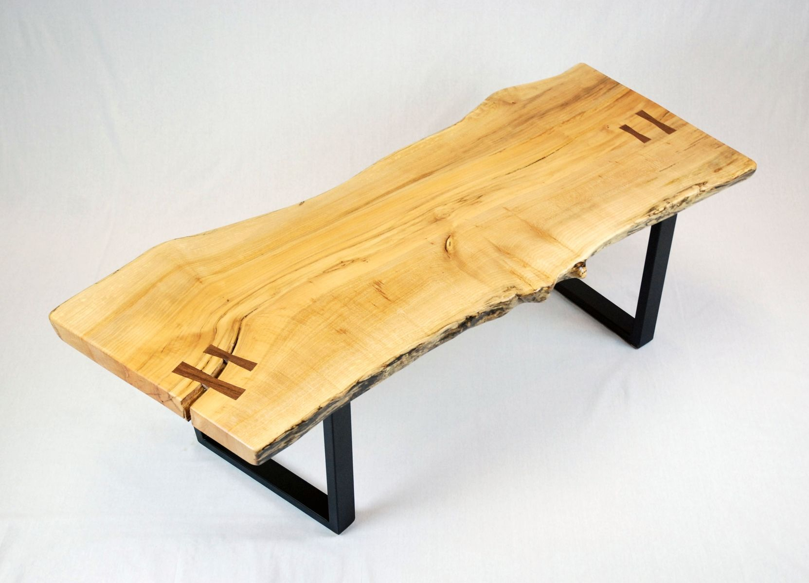 Hand Made Reclaimed Maple Slab Coffee Table With Black Walnut