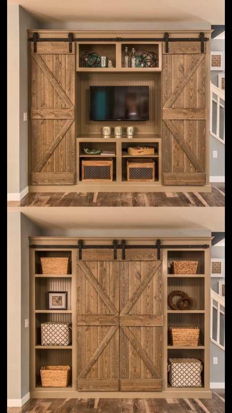 Custom made rustic custom media cabinet with barn doors entertainment center tv cabinet