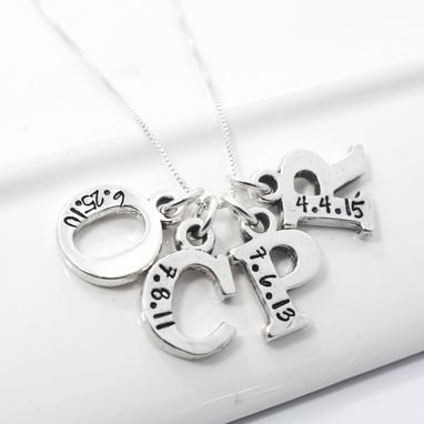 Custom Made Mother Of Four Initial Necklace Hand Stamped With Birth Date