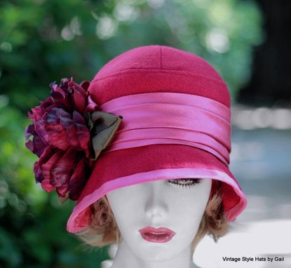 Custom Made Couture Raspberry Wool Warm Fall Winter Cloche Hat In 20'S Style