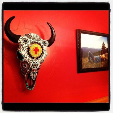 Custom Made Mosaic Buffalo Skull