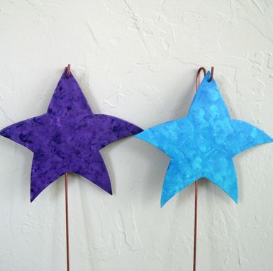 Custom Made Handmade Upcycled Turquoise And Blue Metal Star Garden Stakes In Set Of Two