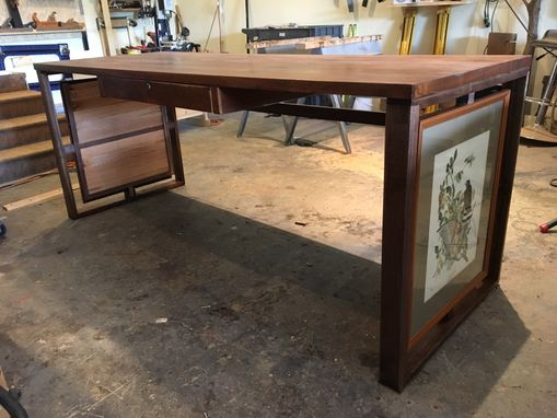 Custom Made Repurposed Desk Made With Existing Desk Material And Pictures Client Wanted To Include