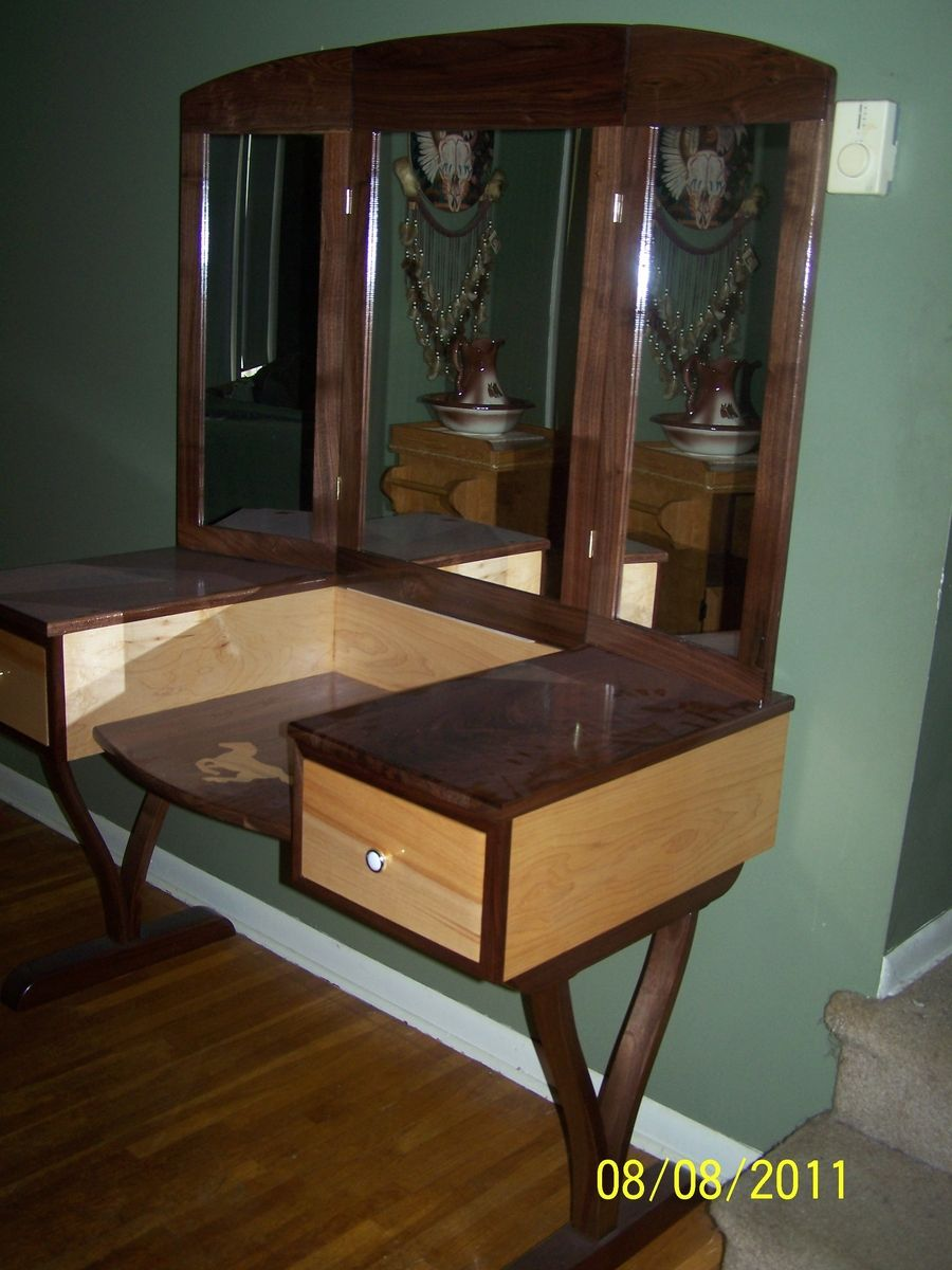 Custom Made Walnut And Maple Vanity Dressing Table By Bob Peters