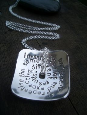 Custom Made Concave Square Stamped Pendant In Sterling Silver