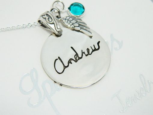 Custom Made Handwriting Necklace  Sterling Silver  In Memory