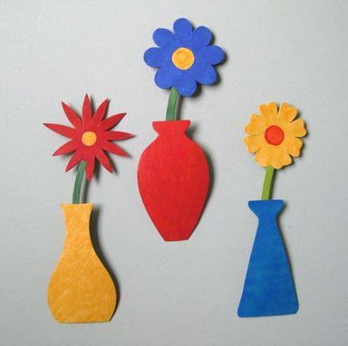 Custom Made Handmade Upcycled Metal Mini Flower Vase Wall Art Sculpture In Blue And Red