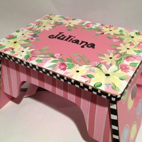 Fabulous Hand Made Personalized Step Stool Custom Childs Stool Chair Dailytribune Chair Design For Home Dailytribuneorg