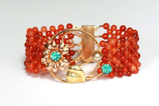 Custom Made Hand Woven Fiery Orange Agate Flower Bracelet With Filigree Clasp.