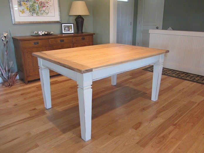 Custom made hickory topped farmhouse dining table by woodward custom made hickory topped farmhouse dining table workwithnaturefo