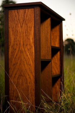 Custom Made Book Shelf Made Of Walnut And English Brown Oak With Dogwood Blossom Marquetry Inlay.