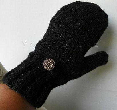 Custom Made Convertible Glam Mitts - In Black