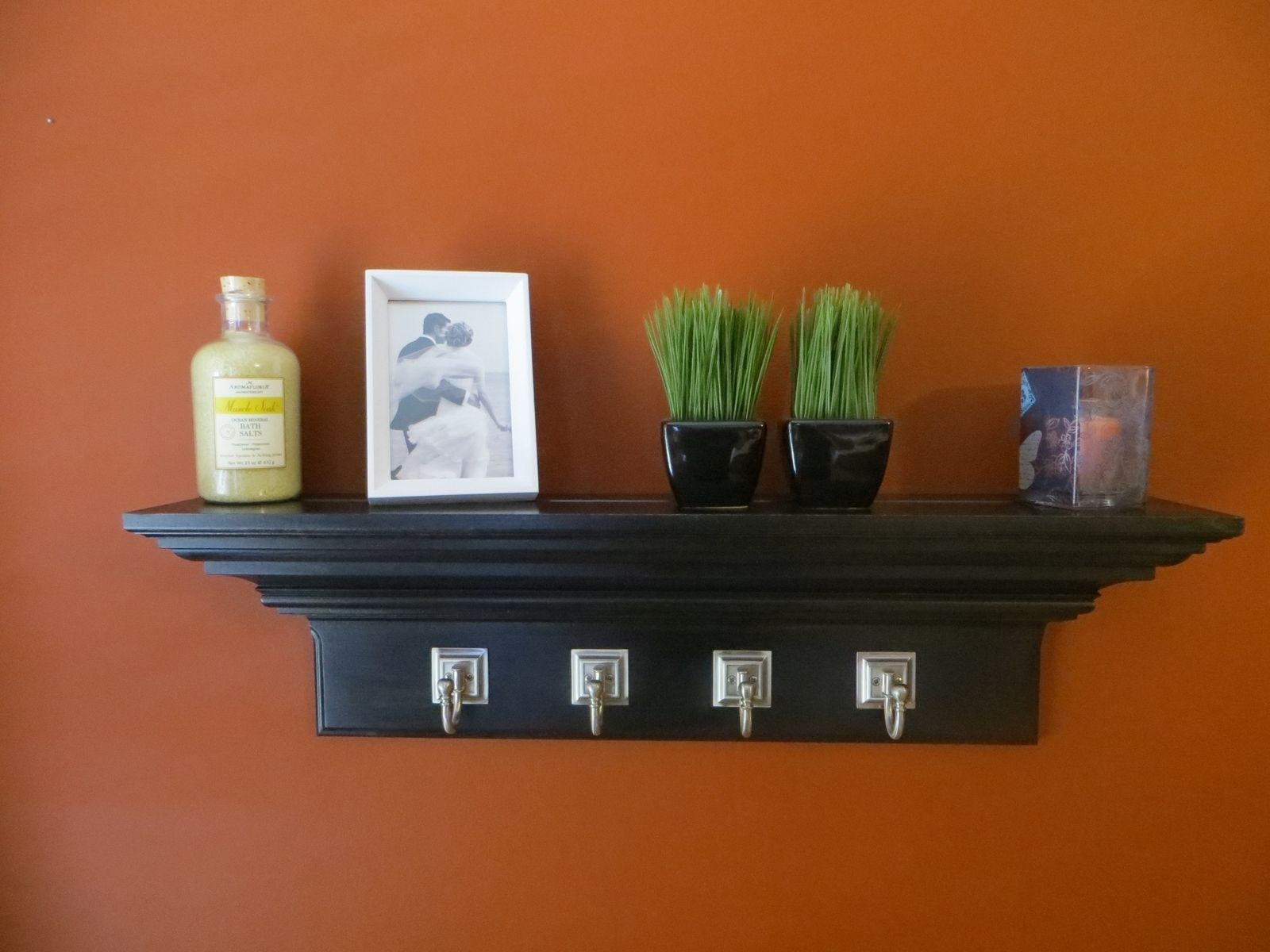 Custom Made 30 Black Crown Molding Floating Wall Shelf With 4 Large Satin Nickel Hooks