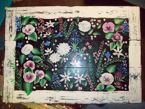 Custom Made Solid Wood Hand Painted Table With Flower Garden