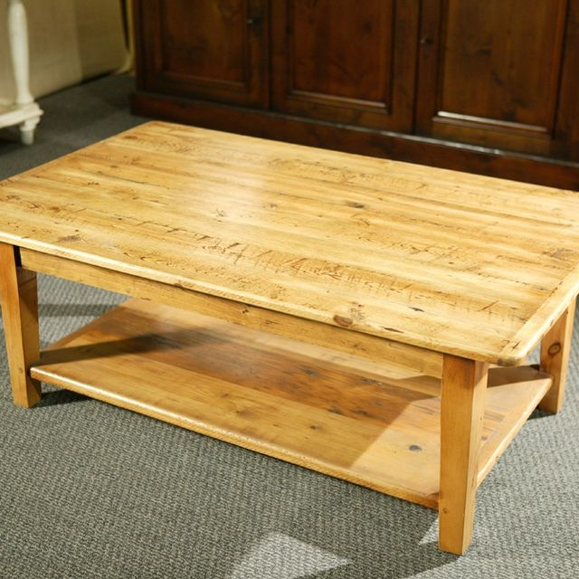 Custom Wood Coffee Tables With Shelf And Straight Legs By - Pine coffee table for sale