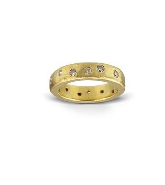 Custom Made 22k Gold And Diamond Wedding Band