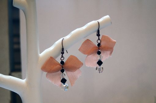 Custom Made Tiny Dangle Earrings With Pink Bows And Cut Glass Beads