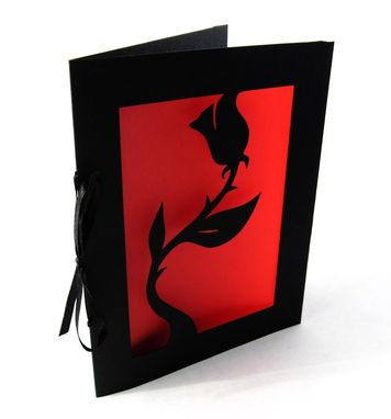 Custom Made Black Rose Valentine Cut Paper Silhouette Greeting Card Black & Red