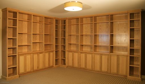 Custom Made White Oak Cabinets And Bookcases