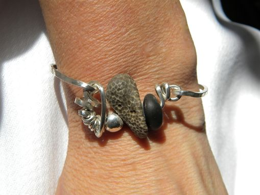 Custom Made Beach Stone Bracelet In Argentium Silver
