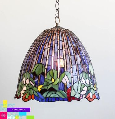 "Custom Made Lotus Flower Tiffany Style Stained Glass Lamp Shade Desk Table Hanging Lamp Artisan ""Azul Cielo"""